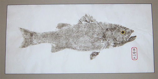 A Gyotaku print made by artist and fisherman Brett Swindell - 757-484-4562